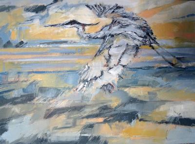 Heron in flight 400